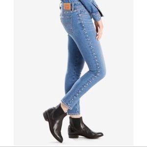 Levi 711 Skinny/Ankle Studded Jeans